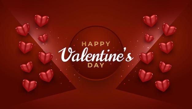 3d 붉은 마음과 빛나는 빛으로 해피 발렌타인 데이 카드