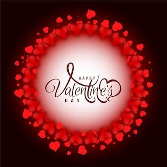 Открытка с днем святого валентина с круговой рамкой сердца