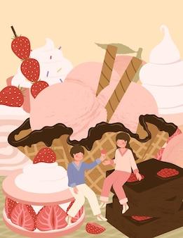 かわいいカップルとデザートのイラストと幸せなバレンタインデーカード