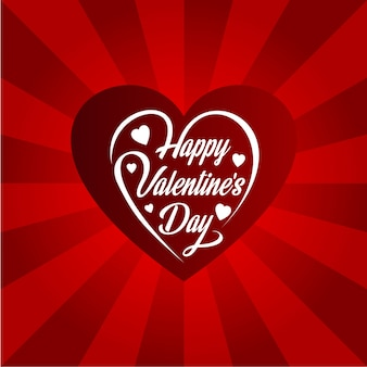 Happy valentine's day card with heart and red background