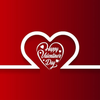 Happy Valentine's day card with hearts and red background