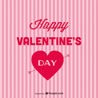 Happy valentine's day card with pink stripes