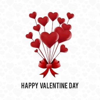 Felice giorno di san valentino carta con cuori rossi