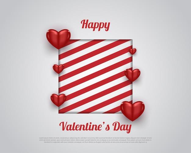 빨간 줄무늬와 붉은 심장 해피 발렌타인 데이 카드