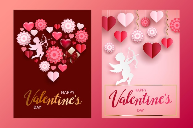 Happy valentine's day cards or banner set with gift box, volume hearts, paper flowers and cupid.