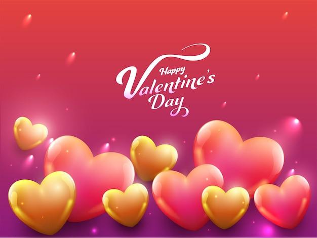 Концепция празднования дня святого валентина с глянцевыми сердцами на фоне эффекта красных и пурпурных огней.