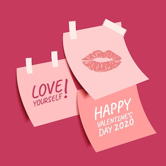 Happy valentine's day collection of cute sticky notes