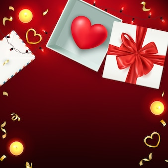Happy valentine's day composition, love postcard, banner, background template