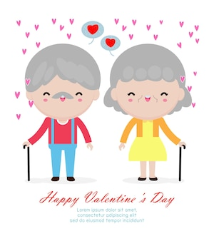 Happy valentine's day concept grandparents are together forever in love, old aged man and woman funny couple flat cartoon style  on white background