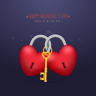 Happy valentine's day concept with 3d heart shaped padlocks and a golden key