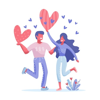 カップルのキャラクターと幸せなバレンタインデーのコンセプト。