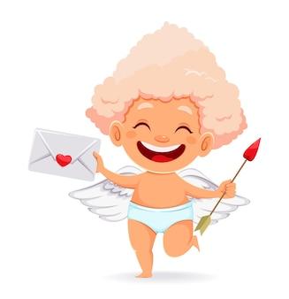 かわいい面白いキューピッド天使と幸せなバレンタインデーのコンセプト