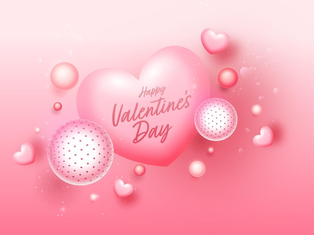 Happy valentine's day concept with glossy hearts and balls or sphere on glossy pink background.