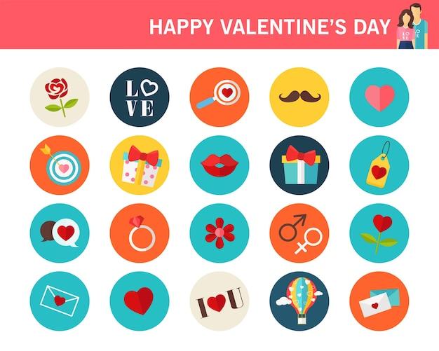 Happy valentine's day consept flat icons.