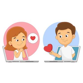 С днем святого валентина, влюбленная пара разговаривает на лабораторном столе