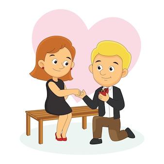 幸せなバレンタインデーのカップルの愛の告白