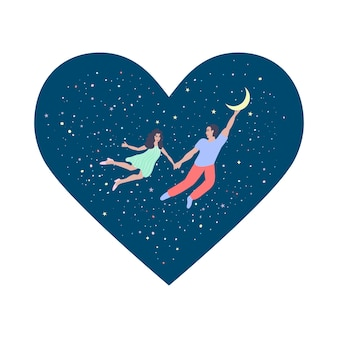 Happy valentine's day. a couple in love is flying in the starry sky. cute vector illustration in flat cartoon style.