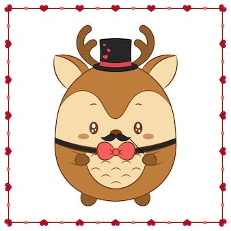 해피 발렌타인 데이 귀여운 동물 아기 사슴 하트 프레임 그리기