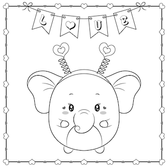 Happy valentine's day cute animal baby elephant drawing sketch for coloring with hearts frame and love banner