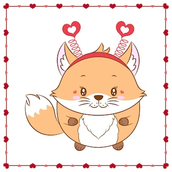 С днем святого валентина милое животное детеныш лисы рисунок с рамкой сердца