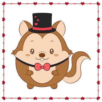 해피 발렌타인 데이 귀여운 동물 아기 다람쥐 하트 프레임 그리기