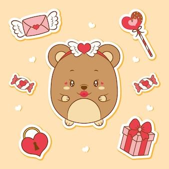 해피 발렌타인 데이 귀여운 아기 테디 베어 드로잉 요소 스티커
