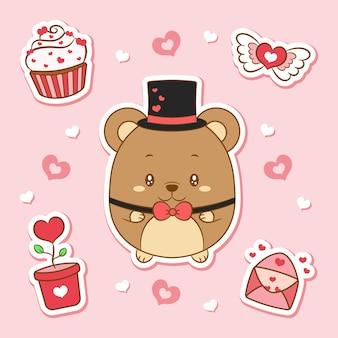 幸せなバレンタインデーかわいい赤ちゃんテディベア描画要素ステッカー