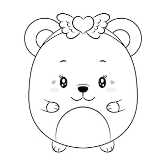 С днем святого валентина милый ребенок плюшевый мишка рисунок эскиз для раскраски
