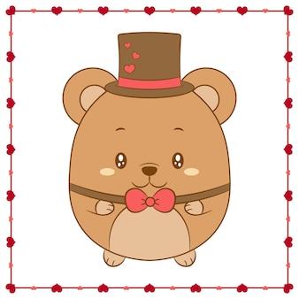Happy valentine's day cute baby teddy bear drawing