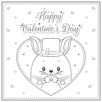 幸せなバレンタインデーかわいいウサギの描画ポストカード大きなハートのスケッチを着色する