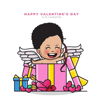Happy valentine's day. cute cartoon character of black cupid out of the valentine gift box