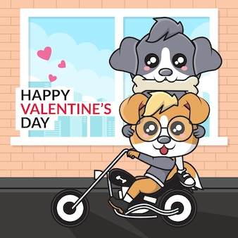 Happy valentine's day. cute cartoon character of couple dog riding a motorcycle
