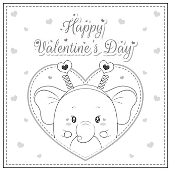 Happy valentine's day cute elephant drawing post card big heart sketch for coloring