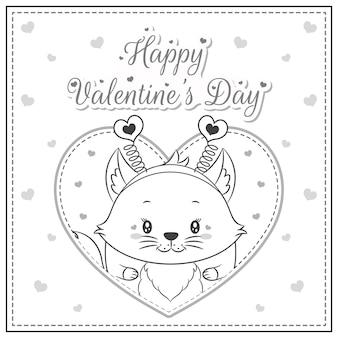 幸せなバレンタインデーかわいいキツネの描画ポストカード大きなハートのスケッチを着色する