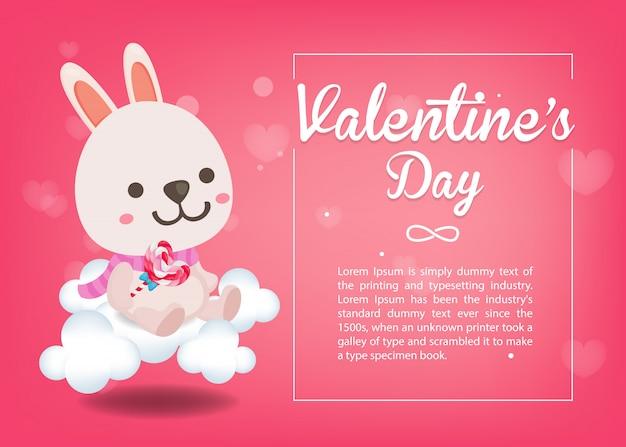 С днем святого валентина, милый кролик на розовом фоне. открытка на день святого валентина