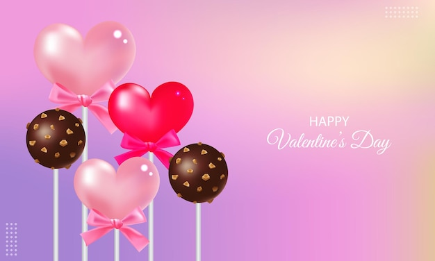 Happy valentine's day decorated with cute hearts and chocolate pop cakes. realistic gradient .
