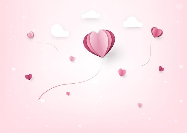 ハートとクラウドペーパーカットスタイルで幸せなバレンタインデーの装飾