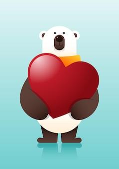 С днем святого валентина декоративный с медведем обнимает сердце, иллюстрация