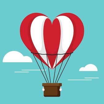 С днем святого валентина декоративный с сердцем воздушный шар плоский дизайн стиль