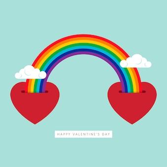 С днем святого валентина декоративный с формой сердца и красочной радугой в плоском стиле