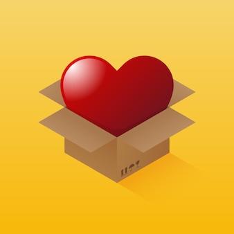С днем святого валентина декоративное украшение в форме сердца внутри посылки