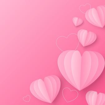 С днем святого валентина декоративный стиль вырезки из бумаги в форме сердца