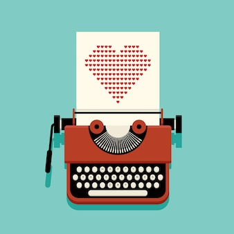 С днем святого валентина украшение с пишущей машинкой и бумагой, полной сердечков