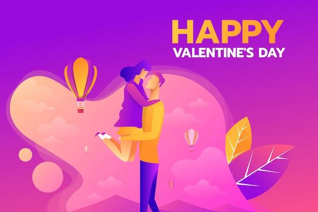 幸せなバレンタインのs日のデザイン。ハート形の雲、熱気球に愛をこめてキスするカップルの愛