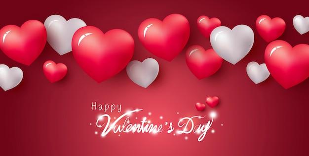 빨간색 배경에 마음의 해피 발렌타인 디자인