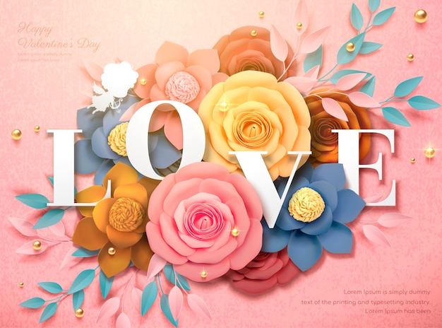 Happy valentine's day design with colorful paper flowers in 3d illustration