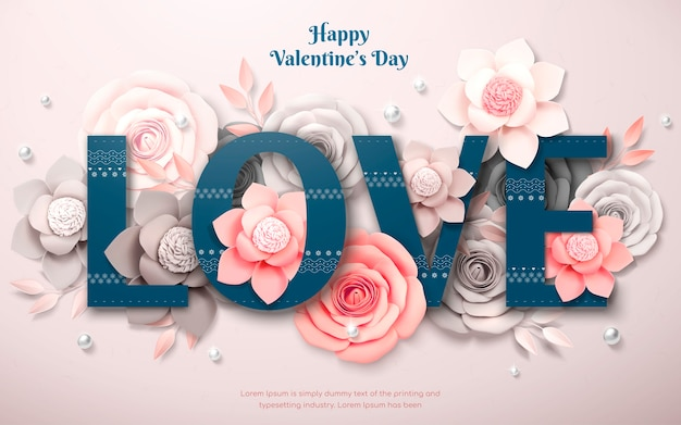 Happy valentine's day design with paper flower and pearl decorations in 3d illustration