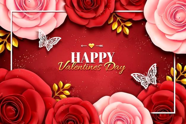 3dイラストの紙のバラと幸せなバレンタインデーのデザイン