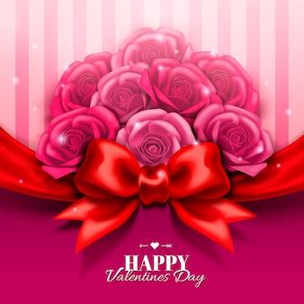 バラのブティックと3dイラストの赤い弓で幸せなバレンタインデーのデザイン