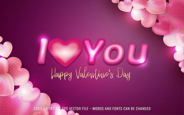 해피 발렌타인 데이 편집 가능한 텍스트 효과, 나는 당신을 사랑합니다 스타일 일러스트레이션